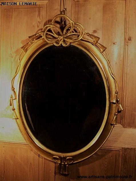 Miroir ovale doré du XIXe siècle Napoléon III - 1