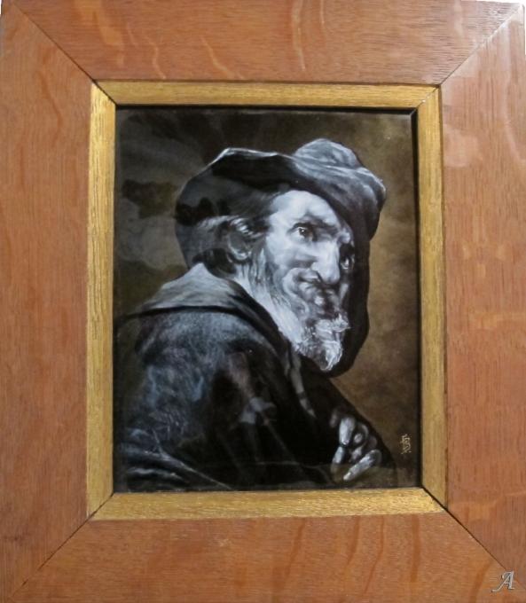 Email peint représentant une tête de vieillard par Ernest Blancher - Marseille