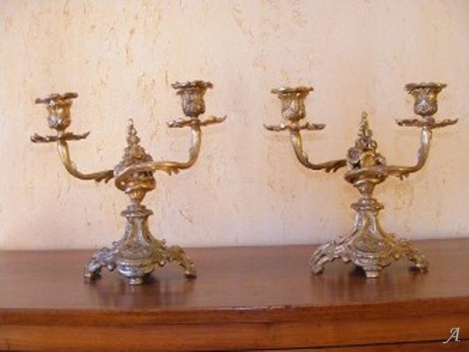 Paire de flambeaux en bronze doré - Villeurbanne