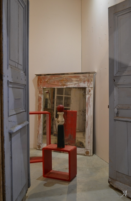 Ancien trumeau de cheminée en bois peint - Notre Dame du Touchet