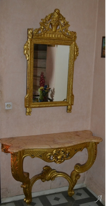 Console et miroir Louis XVI dorés à la feuille - Revel