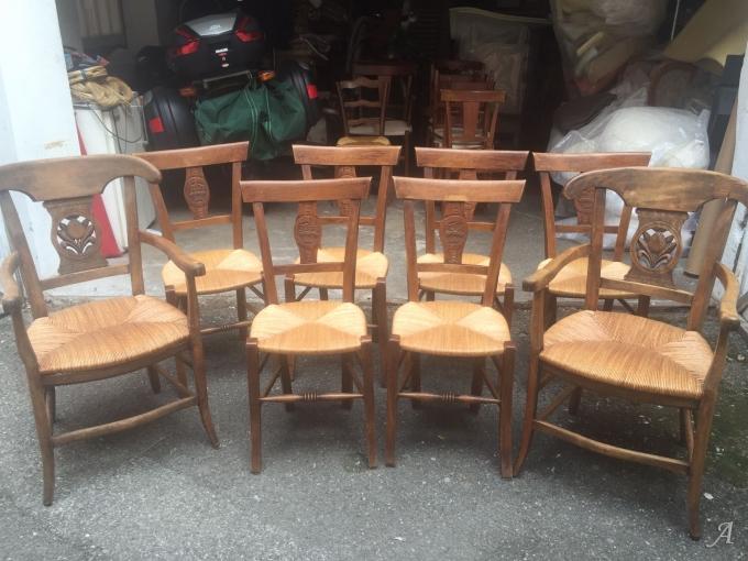 Lot de 6 chaises et 2 fauteuils anciens monogrammés - Annecy
