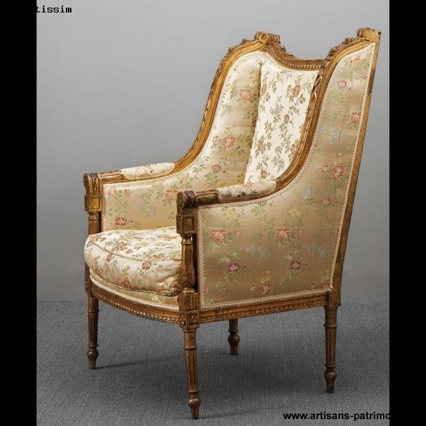 Large bergère à oreilles de style Louis XV - Paris