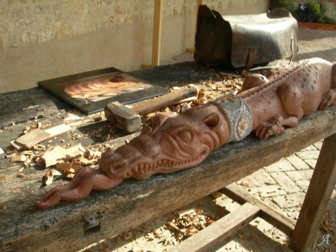 Salamandre sculptée dans le style Renaissance - Saint Martin de Mailloc