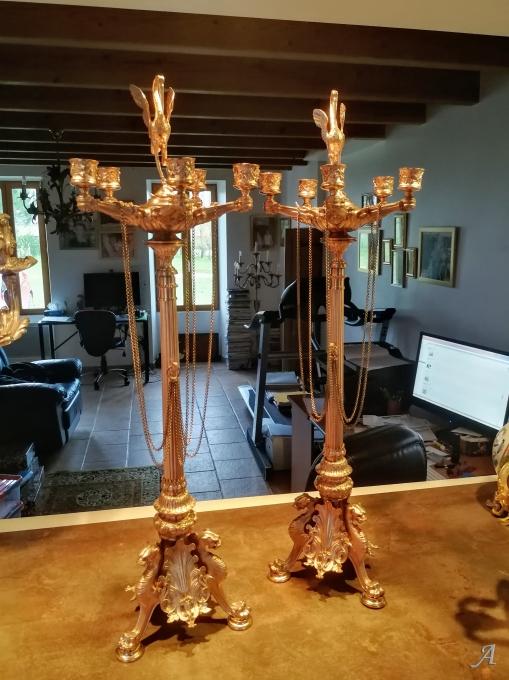 Paire de candélabres aux ibis en bronze doré du XIXe siècle - Nieul les Saintes