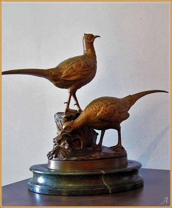 Bronze couple de faisans signé I. Gallo - Peronnas
