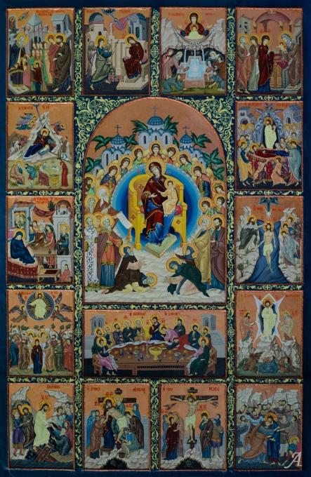 Grande icône orthodoxe avec 16 scènes - Saint Étienne