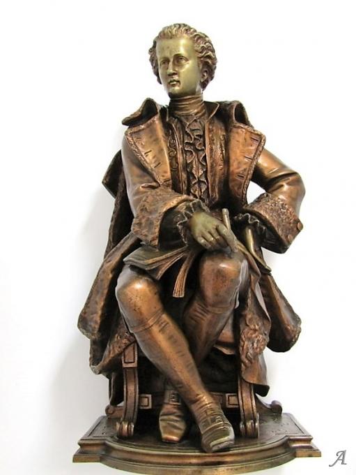 Bronze signé D Marie représentant un écrivain - Villeurbanne