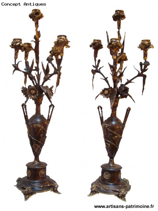 Paire de candélabres aux oeillets d'Auguste Cain - Marseille