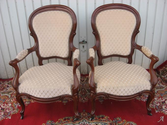 Paire de fauteuils cabriolet Louis Philippe en acajou massif - Elincourt