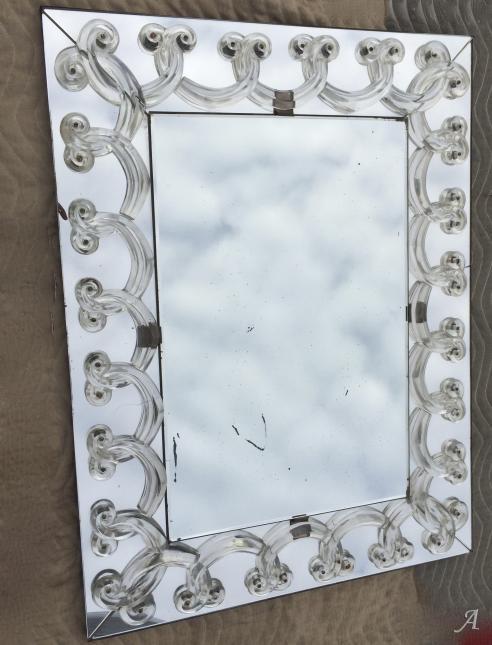 Miroir Art Déco aux rinceaux signé Lalique de 1950 -  Clamart
