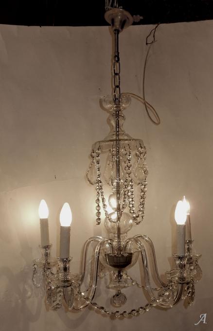 Lustre en cristal de Bohême à 5 bras des années 1950 -  Clamart