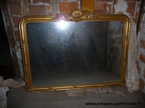 Grand miroir ancien doré - Engomer