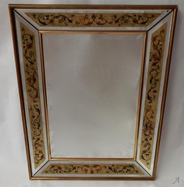 Miroir avec décors fixés sous verre des années 1970 -  Clamart
