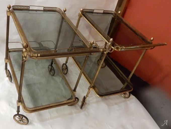 Paire de bars roulants en bronze et laiton doré de la Maison Baguès -  Clamart