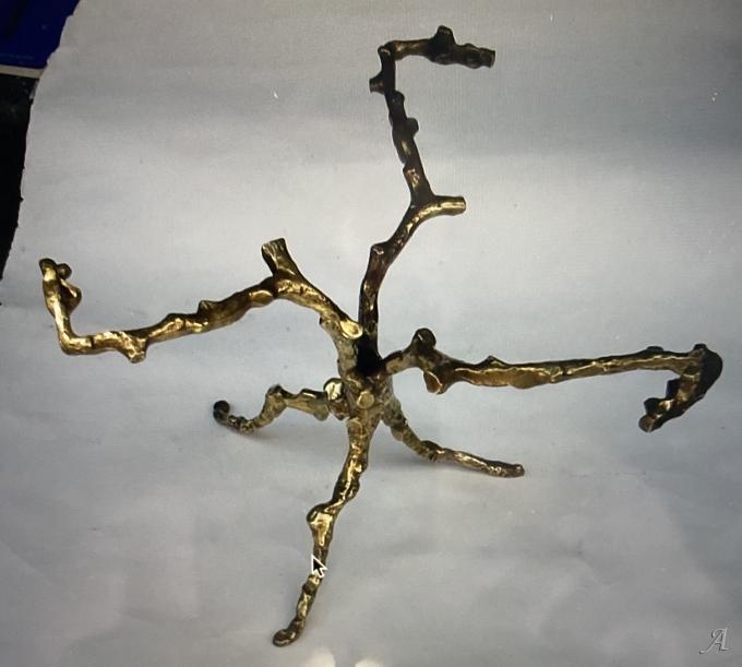 Table basse aux branchages en bronze doré dans le gout d'Agostini  -  Clamart
