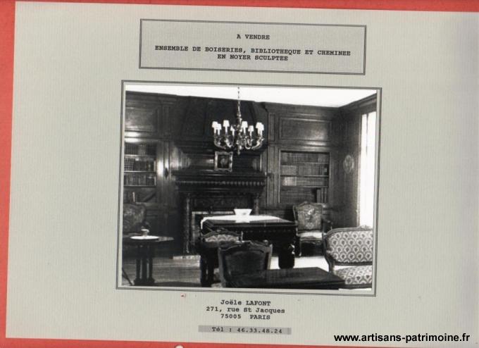 Ensemble boiserie, cheminée, bibliothèque - Montpellier