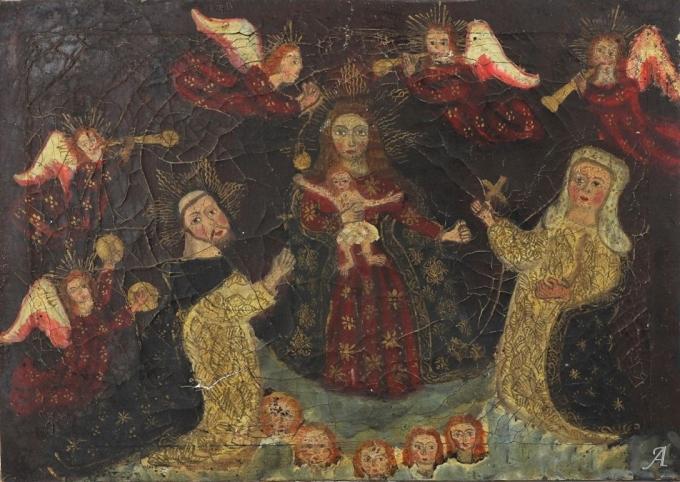 Tableau la Vierge à l'enfant aux anges musiciens du XVIIIe siècle - Châteaubriant