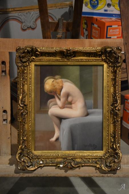 Pastel jeune femme nue de Robert Duflos - Notre Dame du Touchet