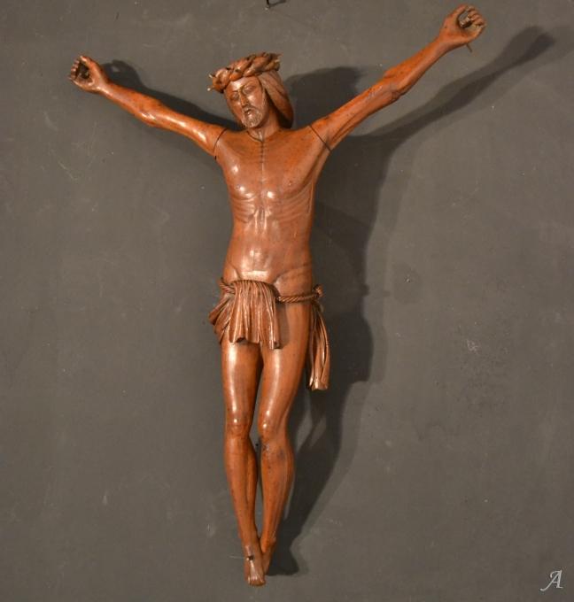 Crucifix en noyer d'époque XIXe siècle - Notre Dame du Touchet