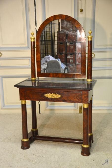 Coiffeuse en acajou et à miroir d'époque Empire - Notre Dame du Touchet