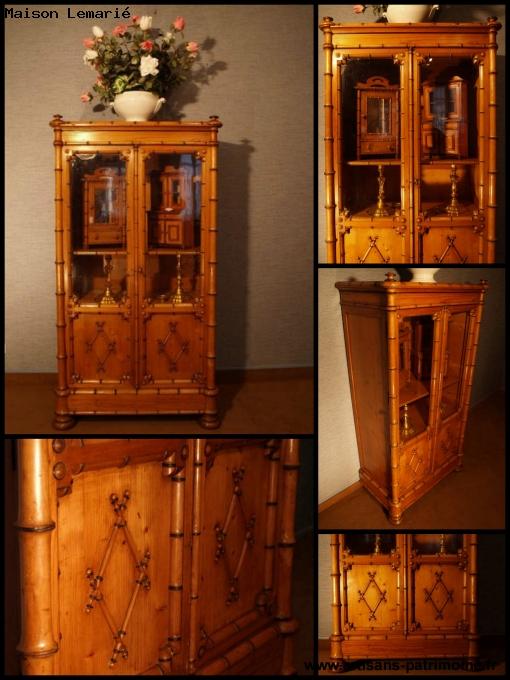 Ancienne petite vitrine style faux bambou - Notre Dame du Touchet