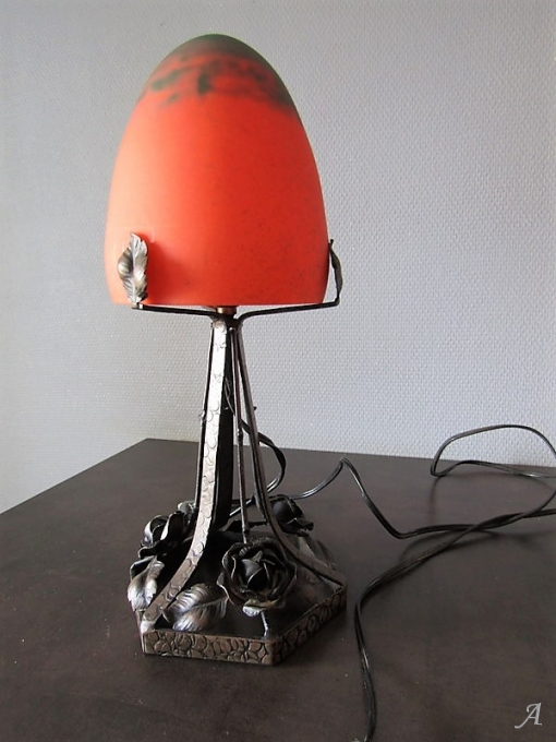 Lampe champignon pâte de verre Art Déco - Peronnas