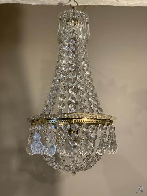 Lustre montgolfière, pampille et colonne en cristal du début du XXe siècle - Guillac