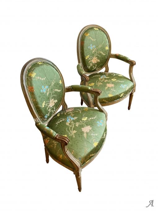 Paire de fauteuils cabriolet époque Louis XVI - Rougé