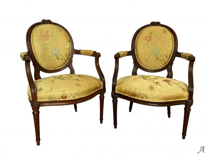 Paire de fauteuils Louis XVI du XVIIIe siècle - Rougé