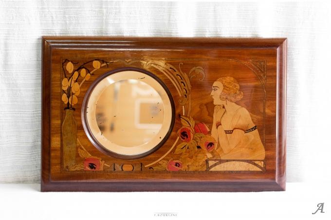 Miroir en marqueterie des années 1920 - Lagny sur Marne