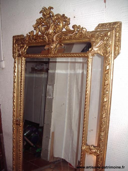Miroir bisauté en bois doré - 1