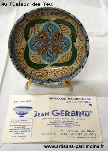 Coupe mosaïque de ceramique Jean Gerbino - Grieges