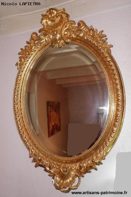 Miroir ovale doré du XIXe siècle - Locoal Mendon
