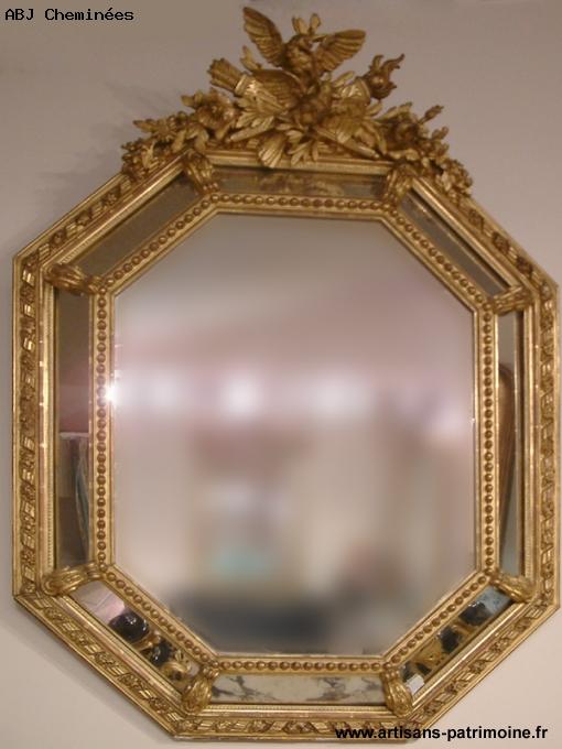 Miroir Louis XVI octogonal - Saint Ouen