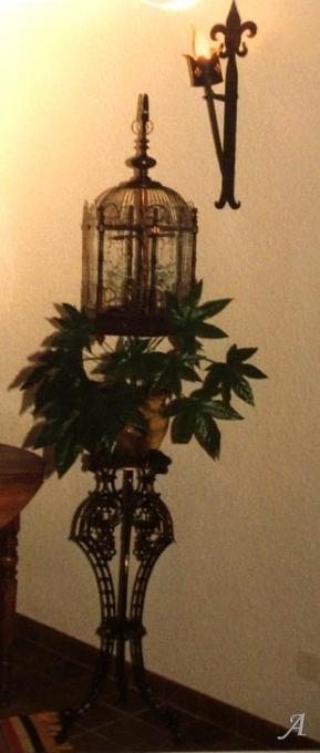 Cage à oiseaux Napoléon III sur console fonte d'époque - Grieges