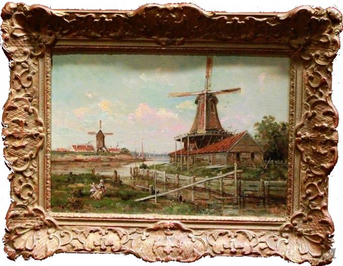Moulins en Hollande de Gustave Mascart - Anet