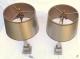 Paire de lampes aux obélisques en laiton et bronze argentées et dorées signées Charles - 4