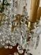 Lustre ancien en bronze doré et pampilles en cristal à 6 lumières - 3