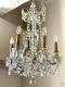 Lustre ancien en bronze doré et pampilles en cristal à 6 lumières - 5